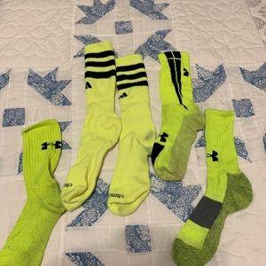 Neon Adidas and Under Armour crew socks